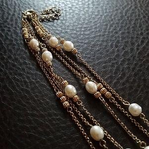 VTG triple strand Monet necklace